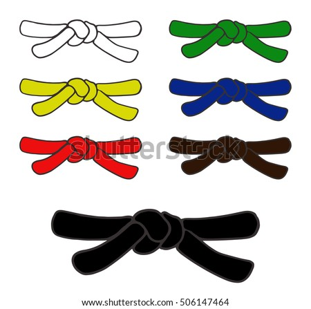 Martial Arts Color Belts Icons Set