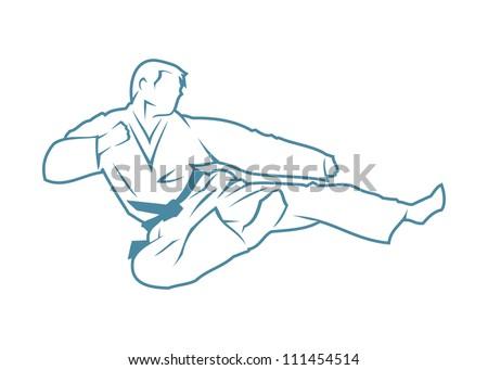 Martial arts fighter - vector illustration - stock vector
