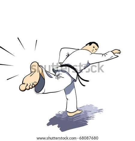 Martial arts - KARATE back strike Detailed Vector illustration - stock vector