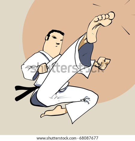 Martial arts - KARATE power kick Detailed Vector illustration