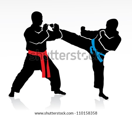 Martial arts silhouettes - vector illustration - stock vector