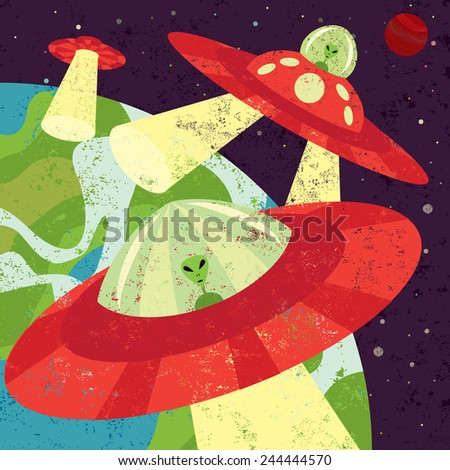 Martian Invasion Martians in spaceships starting their invasion. The martian spaceships are on a separate labeled from the space background. - stock vector