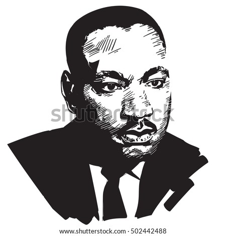 Martin Luther King. Black and white hand drawn vector portrait .