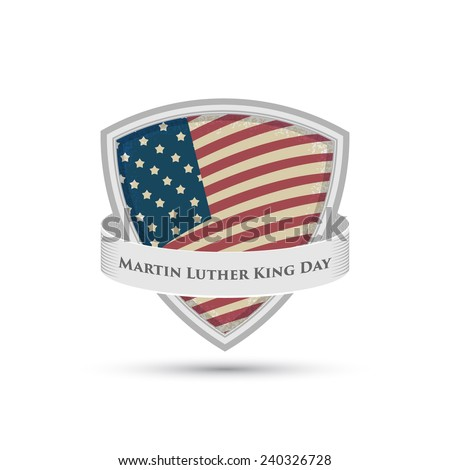 Martin Luther King day badge American flag shield isolated on white background - stock vector