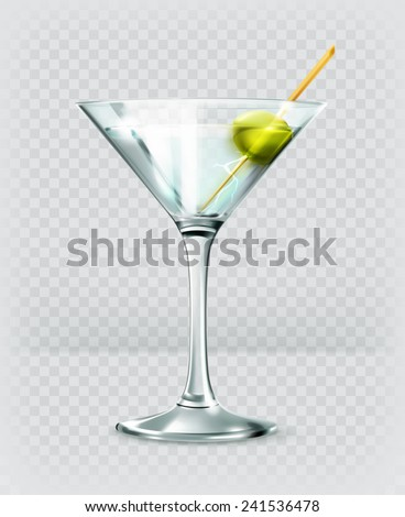 Martini cocktail, vector icon - stock vector