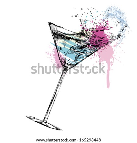 Martini cocktail with. Vector illustration - stock vector