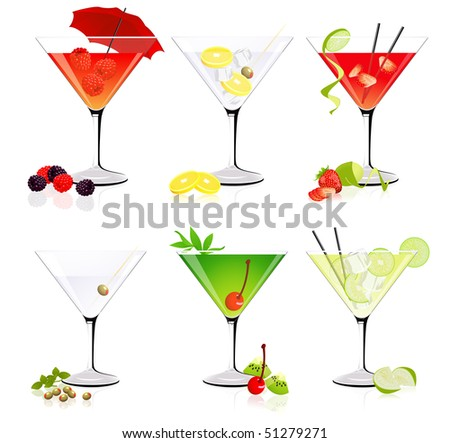 Martini glass collection,  vector illustration - stock vector