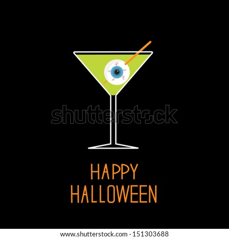 Martini glass with green cocktail and eyeball. Halloween card. Vector illustration - stock vector