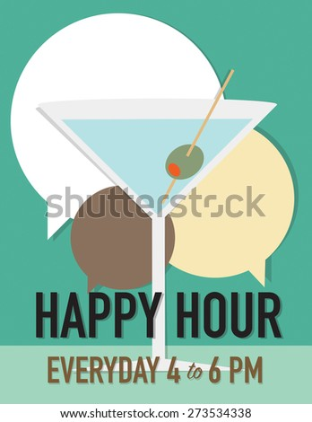 Martini glass with speech bubbles over green background - stock vector