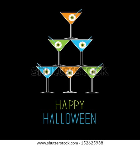 Martini glasses pyramid. Happy Halloween card. Vector illustration - stock vector