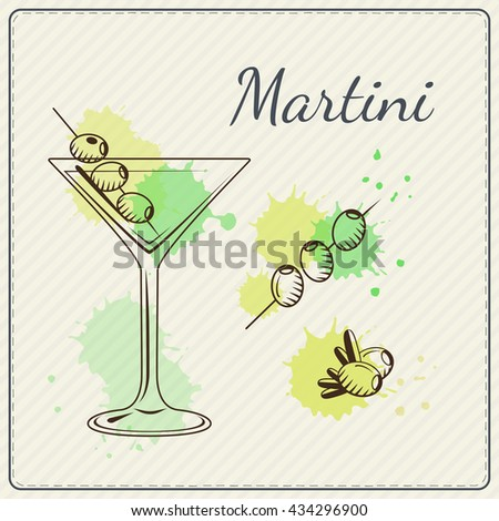 Martini. Hand drawn vector illustration of cocktail. Colorful watercolor background