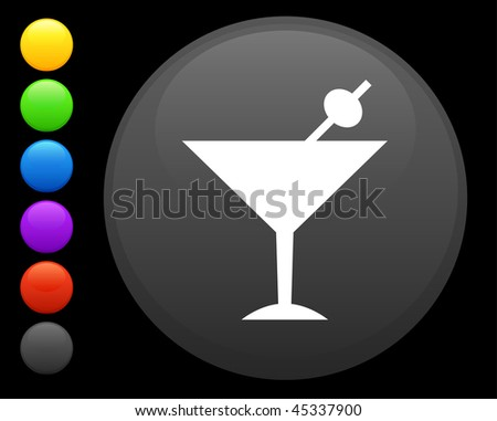 martini icon on round internet button original vector illustration 6 color versions included