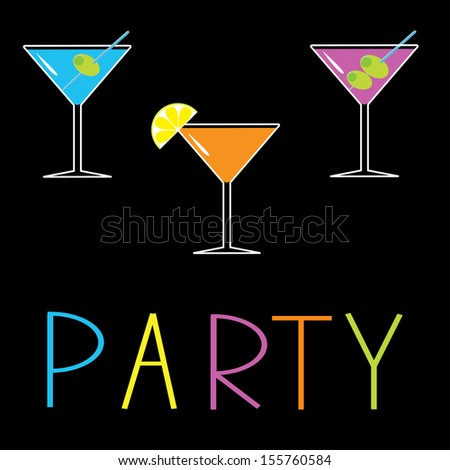 Martini set on black background. Cocktail party card. Vector illustration