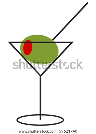 Martini with large Olive - stock vector