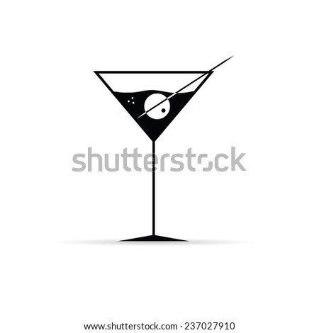 martini with olive vector illustration - stock vector