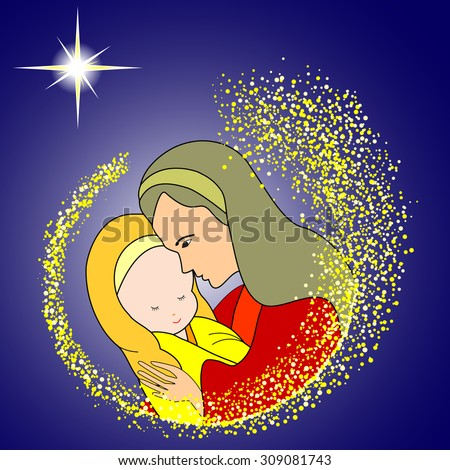Mary and Baby Jesus-Mary holding the baby Jesus with star