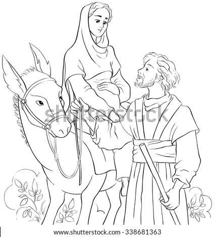 Mary And Joseph Travelling By Donkey To Bethlehem Coloring Page Also Available Colored Version