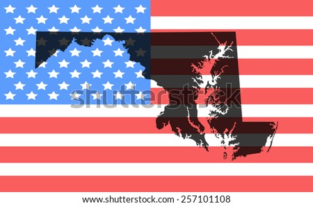 maryland  map on a vintage american flag background