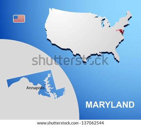 Maryland on USA map with map of the state
