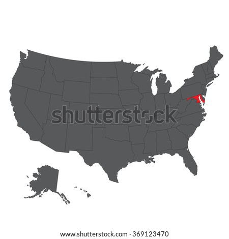 Maryland red map on gray USA map vector - stock vector