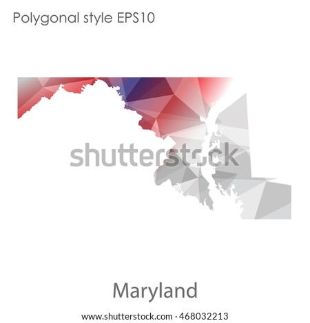 Maryland State Map Geometric Polygonal Styleabstract Stock Vector