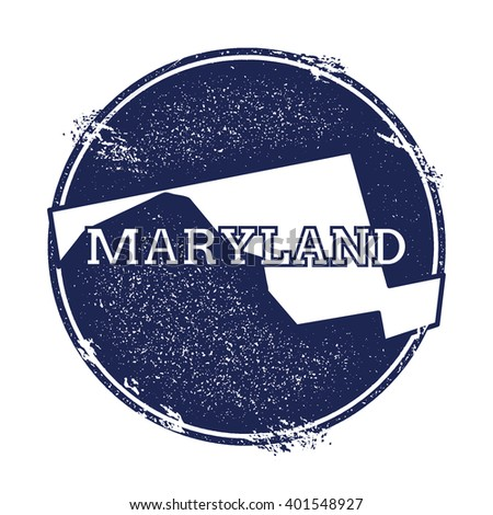 Maryland vector map. Grunge rubber stamp with the name and map of Maryland, vector illustration. Can be used as insignia, logotype, label, sticker or badge of USA state.