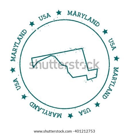 Maryland vector map. Retro vintage insignia with US state map. Distressed visa stamp with Maryland text wrapped around a circle and stars. USA state map vector illustration.