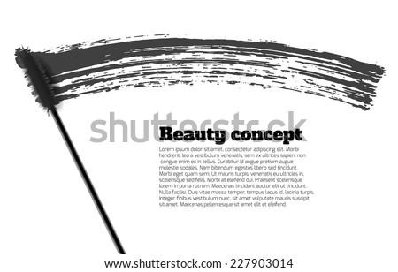 Mascara brush stroke vector, beauty background - stock vector