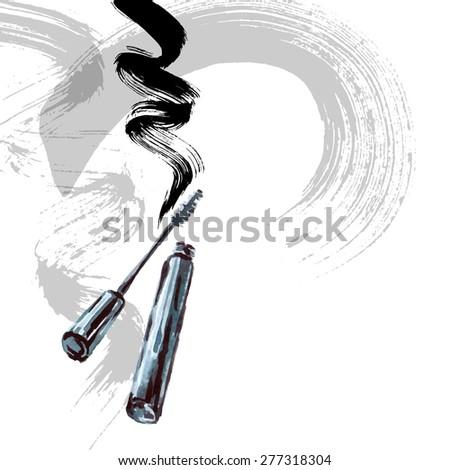 Mascara brush stroke vector, beauty background. Hand drawn Watercolor vector illustration. - stock vector
