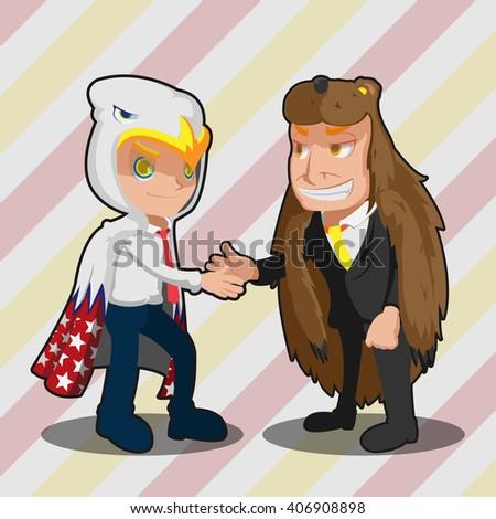 Mascot  Business Man Eagle Bear Shake Hand Vector - stock vector
