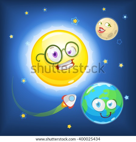 Mascot cartoon characters yellow sun, Earth and moon on the background of cosmic sky - stock vector