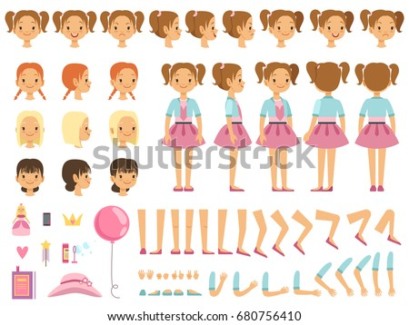 Mascot creation kit of little girl and some children toys. Vector constructor with fun emotions and different body parts