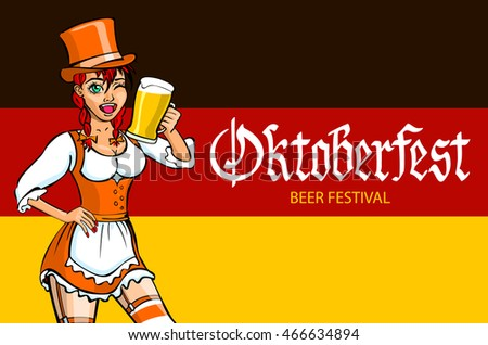 Mascot girl with pigtails in traditional bavarian dress holding glass of beer and german flag Character standing near Germany map with copy space vector art