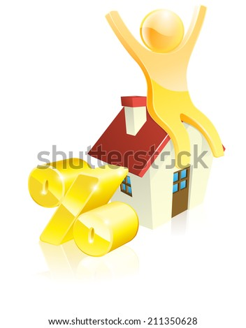 Mascot house percent concept of man sitting on house with arms up and gold percentage sign. Could be concept for many financial topics relating to mortgages or real estate - stock vector