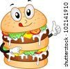 Mascot Illustration Featuring a Burger with Double Patties - stock vector