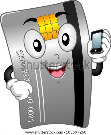 Mascot Illustration Featuring a Credit Card Holding a Mobile Phone - stock vector