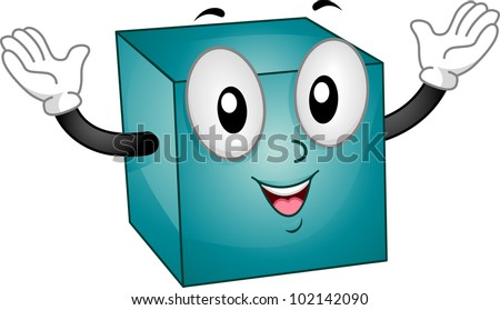 Mascot Illustration Featuring a Happy Cube