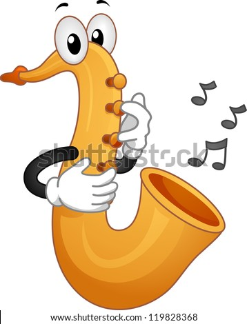 Mascot Illustration Featuring Musical Notes Coming from a Saxophone - stock vector