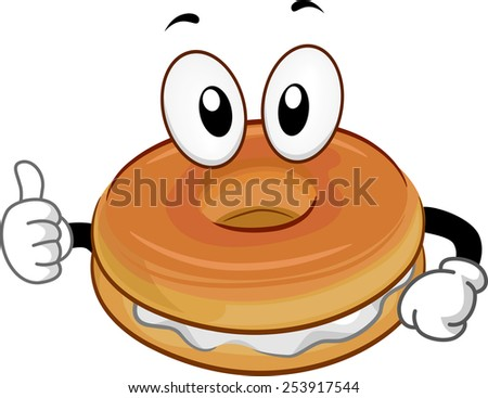 Mascot Illustration of a Bagel Giving a Thumbs Up - stock vector