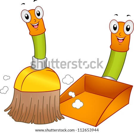 Mascot Illustration of a Broom and a Dustpan Cleaning the Floor - stock vector