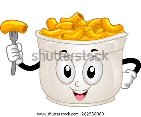 Mascot Illustration of a Cup of Mac and Cheese - stock vector