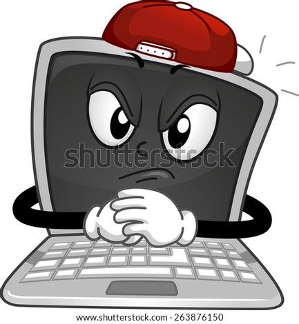 Mascot Illustration of a Laptop Dressed Like a Stereotypical Bully - stock vector