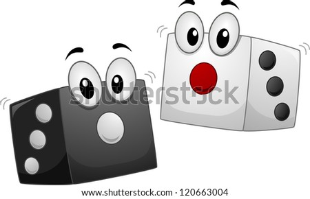 Mascot Illustration of a Pair of Dice in Black and in White - stock vector