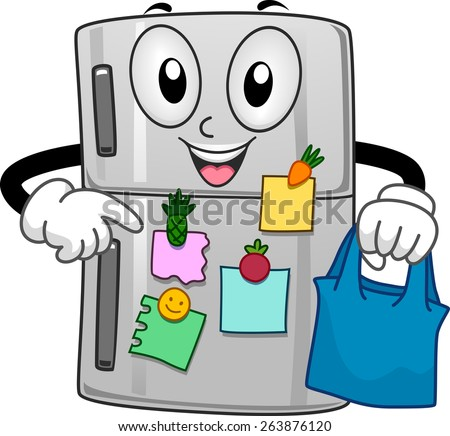 full refrigerator clipart. mascot illustration of a refrigerator filled with sticky notes full clipart
