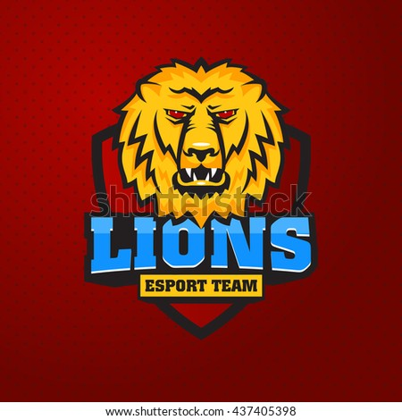 Mascot the muzzle of a lion on board. Leo talisman college sports teams, e-sport, school logo, tattoo, avatar, print t-shirt. The design of the character of a wild African cat. Vector illustration. - stock vector