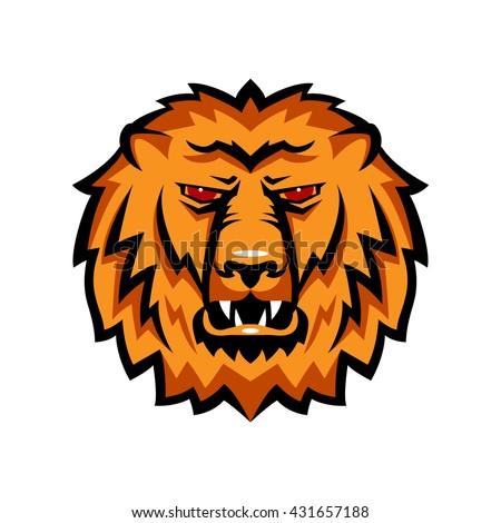 Mascot the muzzle of a lion. Talisman college sports teams, school logo. - stock vector