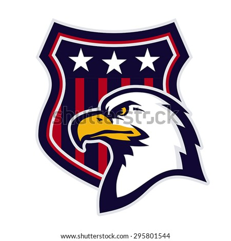 Mascot with American eagle and heraldic shield. EPS 8, CMYK