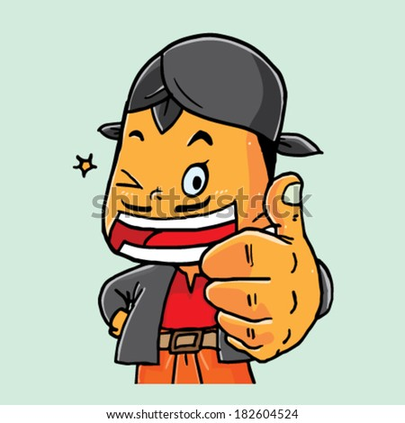 Mascot With Thumb Up Gesture - stock vector