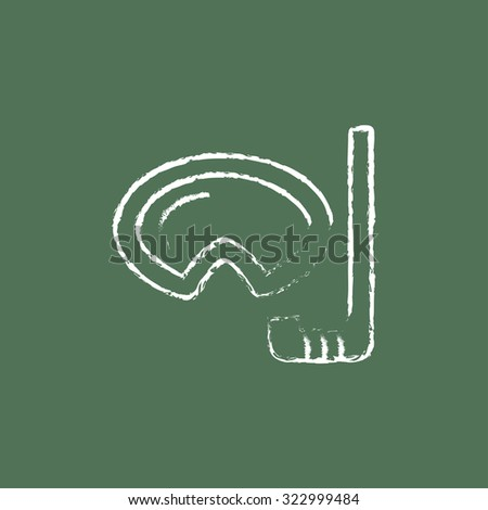 Mask and snorkel hand drawn in chalk on a blackboard vector white icon isolated on a green background. - stock vector