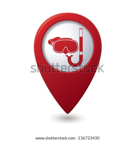 Mask and snorkel icon on map pointer, vector illustration. - stock vector